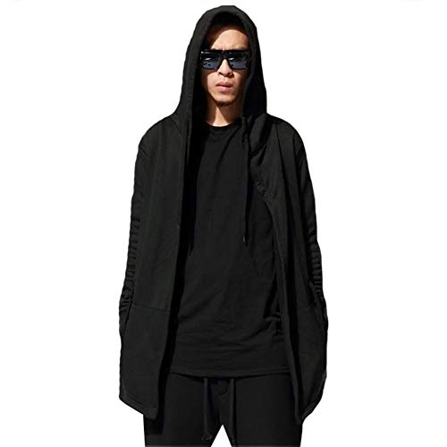 Warm Heren Hooded Vest Lange Mantel Cape Poncho Hip-hop Mannen Casual Solid Cool Dagelijkse Lange Mouw Hoodies