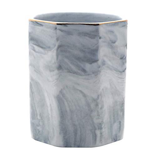 Cabilock - Soporte para utensilios de cocina, cuchara Caddy de cocina, de mármol natural, baquetas en caja para utensilios (gris)