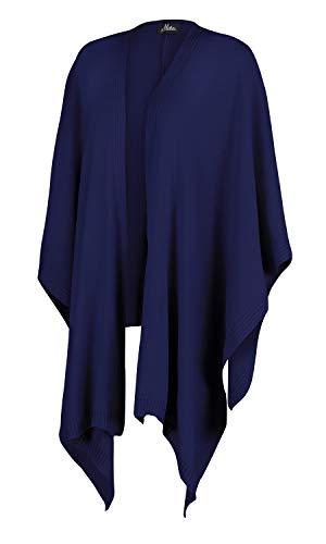 Mikos* Damen Poncho Strick Strickpullover Eleganter Pulli Herbst Winter Viele Farben Eine Größe (991) (Blau)
