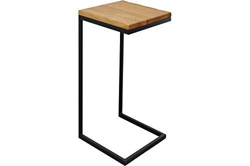 SAM Beistelltisch Ingeborg, Wildeiche massiv + geölt, Beistelltisch mit schwarzem Metallgestell, 40x40 cm, modernes Design, echte Baumkante
