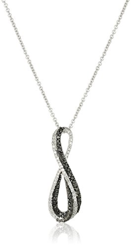 """Sterling Silver Black and White Diamond Infinity Pendant Necklace (1/3 cttw), 18"""""""