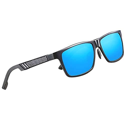 Kingseven Polarisierte Carbon Sonnenbrille eckig quadratisch groß Herren Männer (Schwarz, Blau)