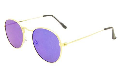 Chic-Net Sonnenbrille rundlich Panto golden 400UV verspiegelt flache Gläser Steg hoch blau-grün