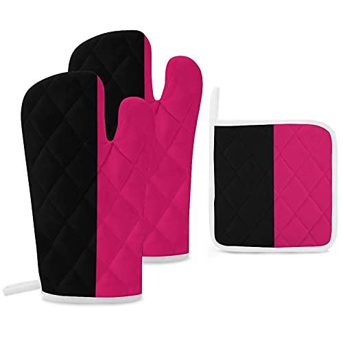 Juego de 3 manoplas y soportes para ollas resistentes con guantes de poliéster antideslizantes para cocina, cocina, hornear, parrilla, color negro fucsia