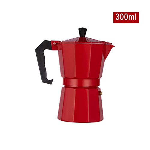 SPLY DTEM Aluminium Stovetop Coffee Maker (6 Cup) - Red (Color : Red, Size : 300ml)