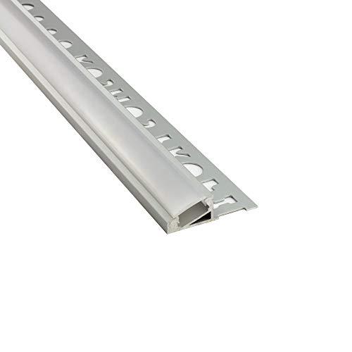 LED Aluprofil T77 10mm silber 20° Fliesenprofil + Abdeckung Abschlussleiste Bordüre Fliesen für LED-Streifen-Strip 2m milky