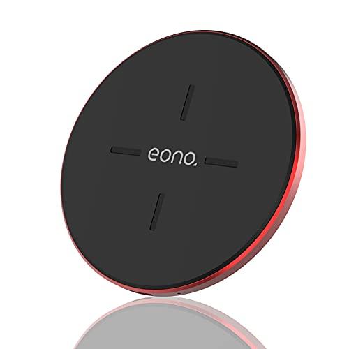 Amazon Brand - Eono Cargador inalámbrico Rápido, C1 Cargadores por inducción Qi-Certificado 15W MAX Compatible con iPhone 12/12 Mini/12 Pro/12 Pro MAX, Galaxy S20/20+/20 Ultra, AirPods Pro(Rojo)