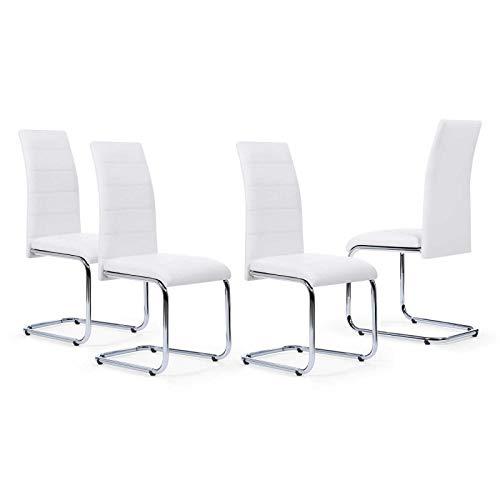 IDMarket - Lot de 4 chaises Mia Blanches pour Salle à Manger