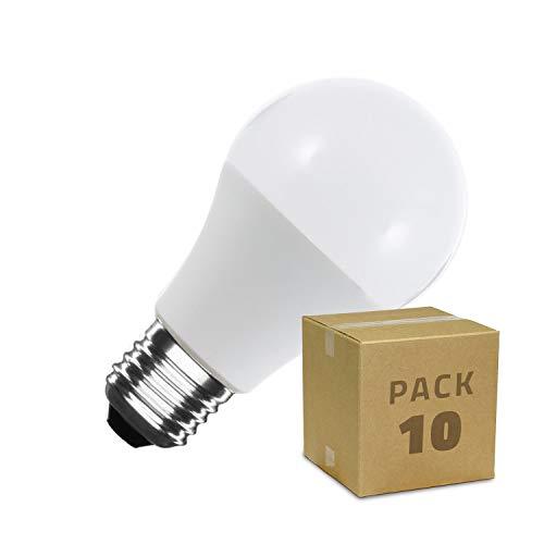LEDKIA LIGHTING Pack Bombillas LED E27 Casquillo Gordo A60 12W (10 un) Blanco Frío 6000K - 6500K