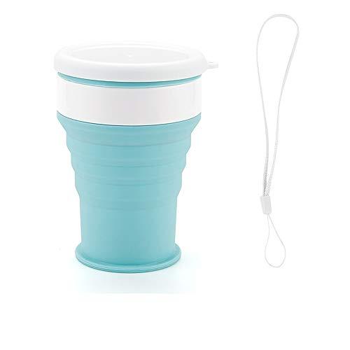 L.J.JZDY Fiambreras Bento Vaso Plegable de Silicona - Vaso Plegable de Silicona for Camping con Tapas - Juego de Vasos Extensibles for Beber - Portátil Bento Box (Color : Azul, Size : S)