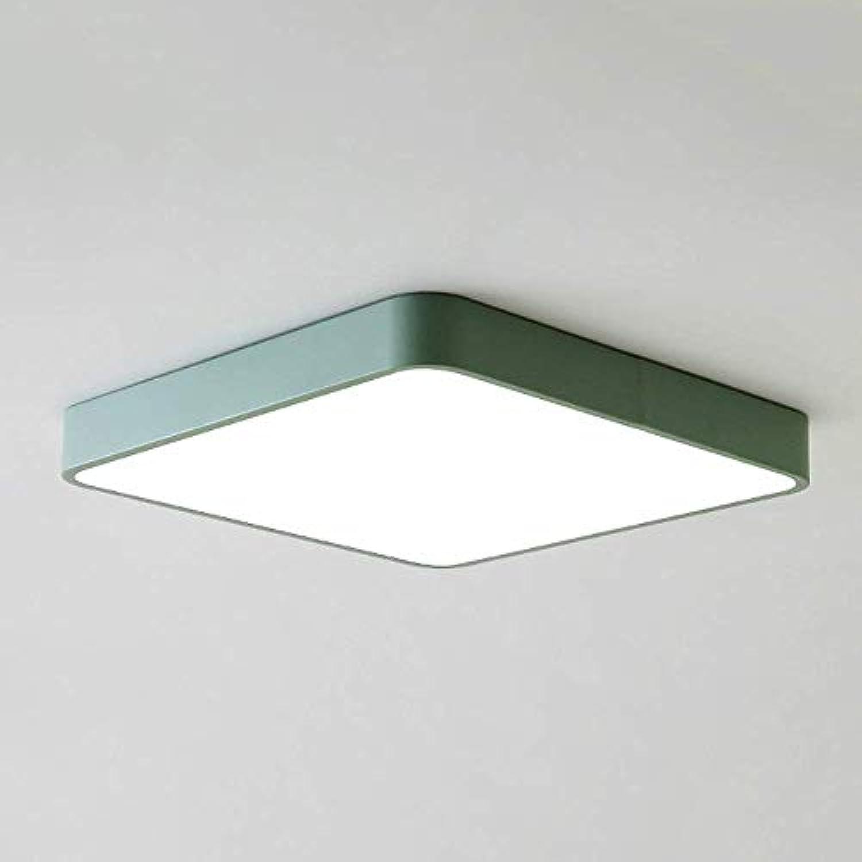 WENYAO Rechteckige LED-Deckenleuchte Modern 18W Iron Art Dimmbar Unterputz-Deckenleuchte Leuchte Esszimmer Wohnzimmer Schlafzimmer (Farbe  Grün-Stufenlos dimmen, Gre  30cm-18W)