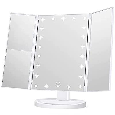 KOOLORBS Wondruz Makeup Mirror Vanity Mirror with Lights, 1x 2X 3X Magnification, Lighted Makeup Mirror, Touch Control, Trifold Makeup Mirror, Dual Power Supply, Portable LED Makeup Mirror, Women Gift