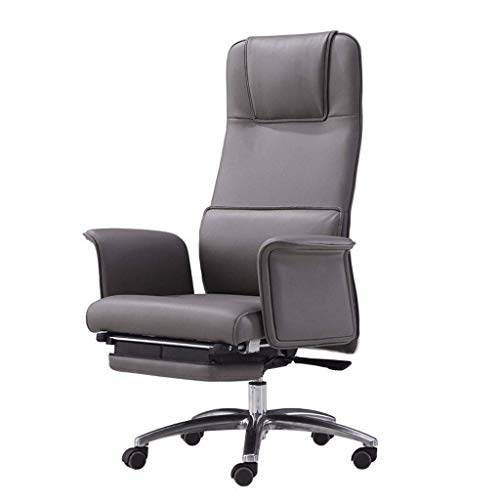 FGDSA Executive Office Chair, High Back PU Leather Adjustable Recline Locking Computer Desk Chair Thick Padding and Ergonomic Lumbar Support (Color : Genuine Leather)