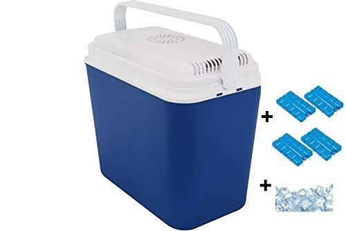 Interior WA240V elektrische Kühlbox, Mini Kühlschrank 22 L fürs Auto, Thermoelektrische Autokühlschrank Campingbox mit 12 V Anschluss, Minikühlschrank, EEF A+, inkl. 4 Kühlakkus + 1,5 kg Kühlsalz