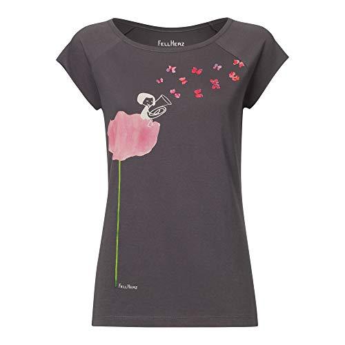 FellHerz Tubamädchen dunkelgrau - L - Damen T-Shirt aus 100% Bio-Baumwolle Organic Cotton fair nachhaltig öko alternativ Mädchen Fee Tuba