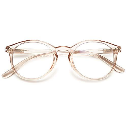 KOOSUFA Mode Anti Blaulicht Lesebrille Federscharnier Damen Herren Runde Lesehilfen Sehhilfe Anti Müdigkeit Brille 1.0 1.25 1.5 1.75 2.0 2.25 2.5 2.75 3.0 3.5 4.0 (1x Durchsichtig Hellbraun, 1.25)