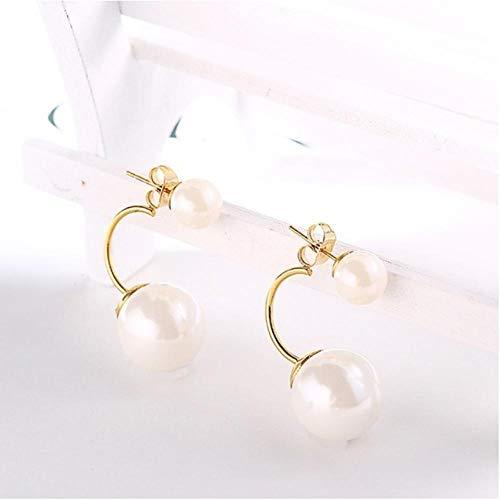 Aretes Largos Redondos de Perlas con Cristal Perforado en la Oreja, Amante de la joyería, Regalo-D