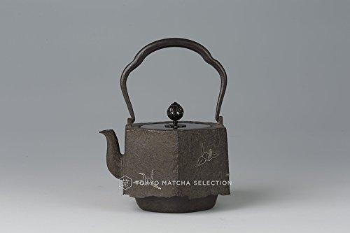 TOKYO MATCHA SELECTION - [Heritage] Takaoka Tetsubin : Hexagon Orizuru (Folded Paper Crane) with silver inlay - Iron Kettle Teapot - Japan Import [Standard ship by EMS : w Tracking & Insurance]