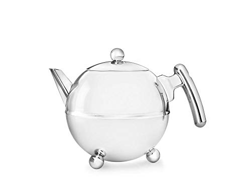 doppelwandige Teekanne Duet® Bella Ronde Edelstahl glänzend verchromte Beschläge 0,75 ltr.