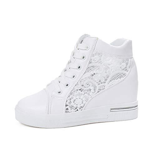 Zapatillas de Deporte para Mujer, Zapatos de Plataforma Transpirables de Verano, Zapatos de cuña Alta, Zapatos Antideslizantes Informales con Cordones para Mujer