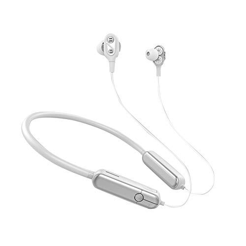 Yokawe Auriculares Inalámbricos, Bluetooth 5,0 Auriculares 4 Altavoces Compatibles con Bluetooth Tarjeta De Inserción En El Oído Auriculares Deportivos Auriculares para El Gimnasio Running Blanco