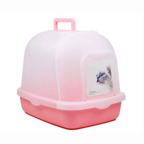 ZTMN Forniture per Animali Domestici Lettiera per Gatti Toilette per Gatti, Grande Scatola di plastica Chiusa per Interni Porta Scorrevole a Scomparsa Facile da Pulire Portatile (Colore: Rosa)