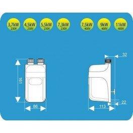 D Instant Dafi Chauffe-eau flexible 7,3 kW