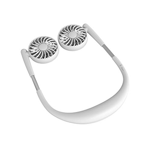 BSTOPSEL Zomer Handsfree-ventilator Draagbare nekbandventilator USB Oplaadbare mini-ventilator met dubbele nek 3 snelheden 360 roterende ventilator