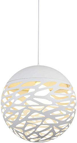 LLLKKK Lámpara colgante retro de hierro, vintage, industrial, creativa, diseño de bola, metal antiguo, lámpara colgante para comedor, cocina, apartamento, E27, color blanco