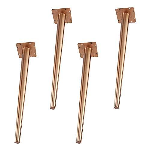 YANJ Patas de metal de 72 cm, patas de acero inoxidable macizo, patas cónicas, mesa de café, escritorio, patas de repuesto para mesita de noche, color dorado, 72 cm