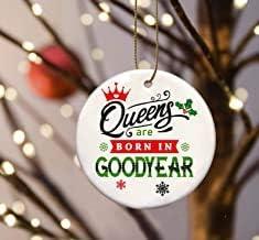 Belle10Bob Familjegåva träd prydnad stad - Queens are Born in Goodyear - julprydnad träd 7,6 cm vit