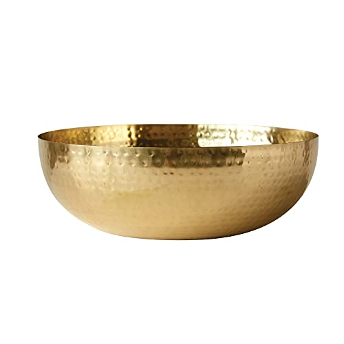 Creative Co-Op Round Hammered Metal Bowl, 14