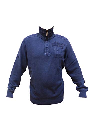 Camp David Herren Stone Wash Pullover mit Troyer-Kragen