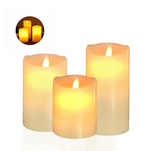 3x Velas LED de Llama parpadeante Vela de cera real LED Sin llama Luces de té LED Vela LED cera real para vacaciones, bodas, fiestas, Navidad, decoración de la casa, blanco cálido