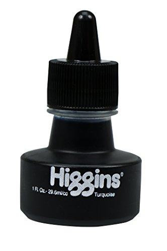 Higgins Dye-Based Drawing Ink, Turquoise, 1 Ounce Bottle (44109)