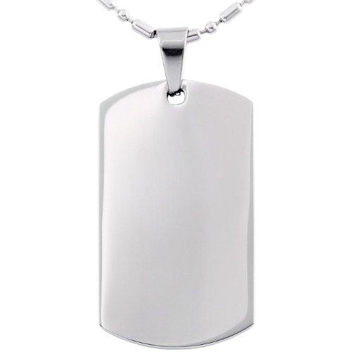 JewelryWe Collar de Perro, Dog Tag Estilo Militar, Collar Personalizado con Colgante de Placa Pulida, Disponible para Grabar Su Propio Mensaje, Hombre/Mujer 55cm