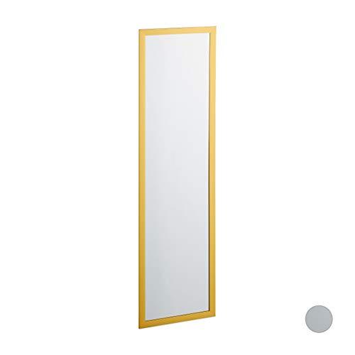 Relaxdays Wandspiegel, mit Rahmen, Flur, Wohn, Schlafzimmer, Wandmontage, großer Flurspiegel, HxB: 124 x 34 cm, Gold, Glas, 1 Ud