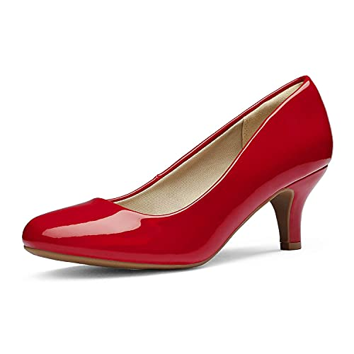 DREAM PAIRS Women's Luvly Red Pat Bridal Wedding Low Heel Pump Shoes - 12 M US