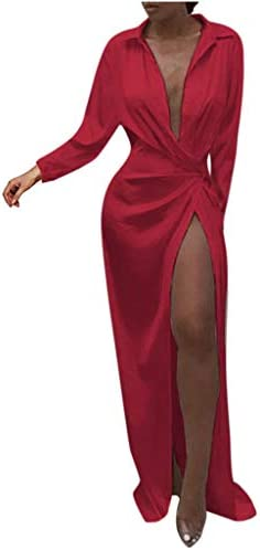 Lazapa Lady High Waist Split Sexy Dress Deep Collar Lapel Mopping Evening Dress Red product image