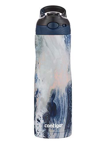 Contigo Trinkflasche Autospout Chill Couture mit Strohhalm, Edelstahl Wasserflasche, 100% auslaufsicher, Isolierflasche für Sport, Fahrrad, Wandern, 590 ml, Cloudburst