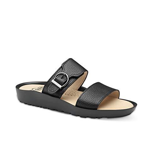 Feliz Caminar - Sandalia Piel Antideslizantes y Cómodas para Hombre y Mujer   Frescas para Vestir en Epocas de Calor Verano Primavera   Modelo Sana 18302   Talla 38   Color Negro