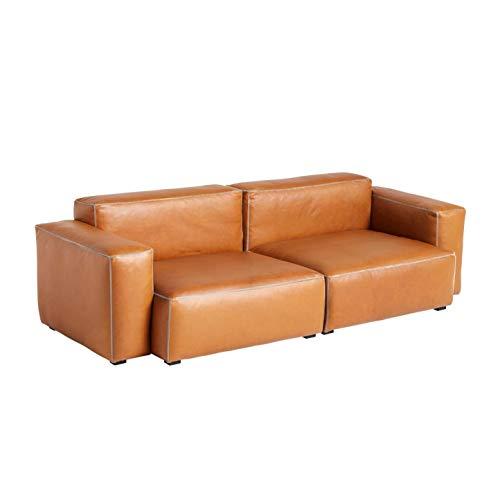 HAY Mags Soft 2,5-zits bank armleuning laag leer, cognac naad lichtgrijs leer silk SIL0250 voeten grenenhout zwart gebeitst met viltglijders