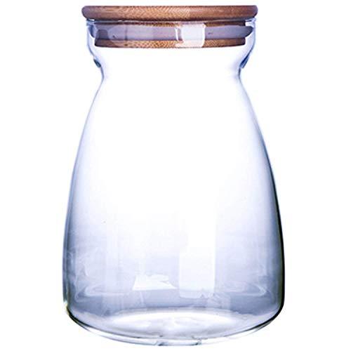GAXQFEI Frasco de Vidrio para Alenamiento de Alimentos, Botella de Bote de Alimentos Sellada Hermética Transparente, Granos Gruesos Botella de Frutas Secas Granos Frasco de Alenamiento de Vidrio, B