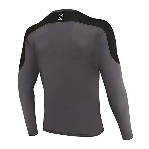 AMZSPORT Herren Kompressionsshirt Atmungsaktiv Langarm Funktionsshirts Schnell Trocknend Sportshirt Laufshirt, Grau Schwarz S - 3