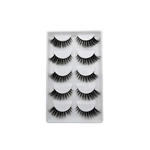 Canjerusof 3D Künstliche Wimpern Verlängerung Mink Lashes Handgemachte Lange Streifen Lashes für Frauen Mädchen Make Up Schwarz Design-806 5-Pair