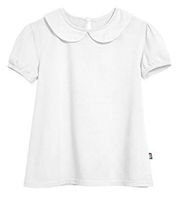 City Threads Little Girls' Peter Pan Collar A-Line Puff Tee Tshirt Blouse, White, 6