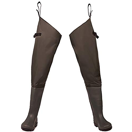 Toandon Mens Hip Waders Fishing Lightweight Waterproof Bootfoot Hip Boots with Cleated Outsole for Women Man (Brown,Size 10)