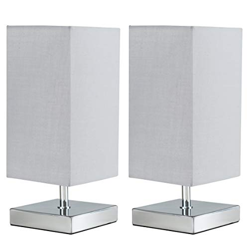 Pair of - Modern Square Polished Chrome Touch Table Lamps with a Grey Shade