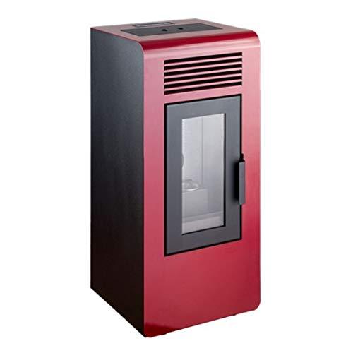 stufa a pellet qlima Qlima Eco Stufa a Pellet Ventilata 7 kW Riscalda Ambiente fino 58 m² Colore Rosso Timer Programmabile Termostato Regolabile Braciere in Ghisa (Rosso)