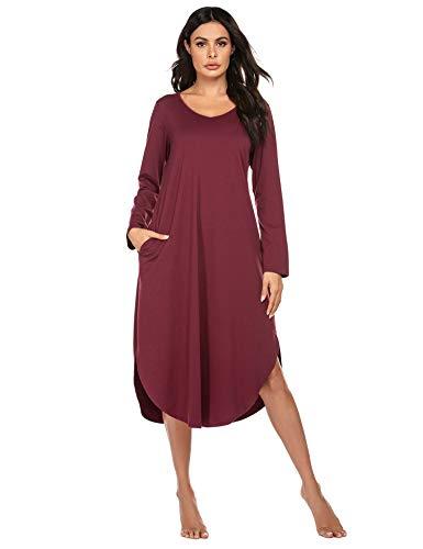 Ekouaer Sleepwear Womens Long Sleeve V Neck Long Nightgown Comfortable Loungewear (Wine Red, XX-Large)